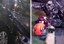 Choca Daniel Bisogno contra motocicleta