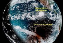 Publican imagen desde el espacio de eclipse solar y huracán Bárbara