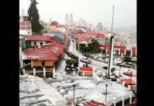 Granizada pinta de blanco a Real del Monte, Hidalgo