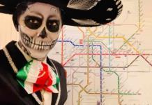 Catrinas viajan en Metro