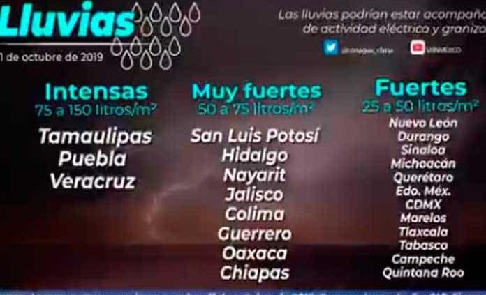 Pronostican lluvias muy fuertes en algunas regiones de SLP