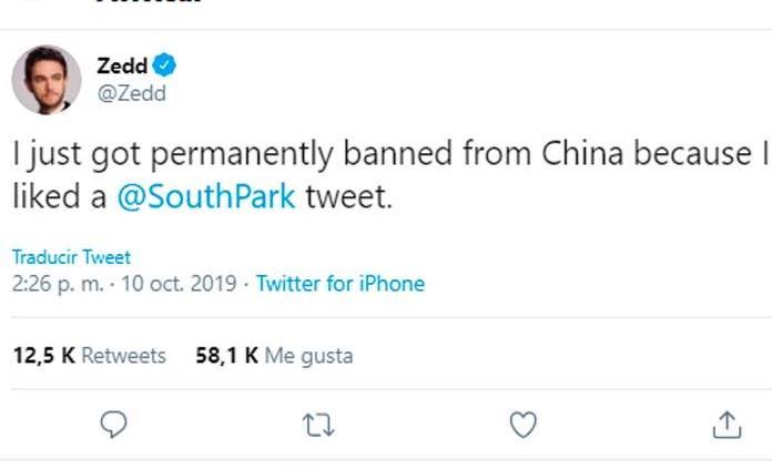 "China expulsa al DJ Zedd por ""South park"""