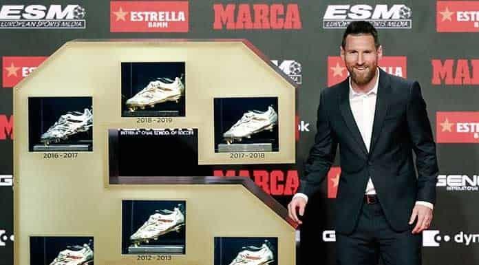 Recibe Lionel Messi su 6ta. Bota de Oro'>