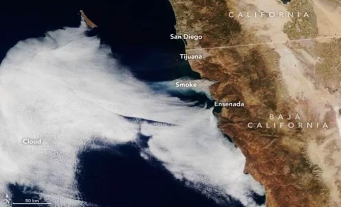 La NASA difunde imágenes satelitales de los incendios en BC