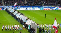 Derribo simbólico del Muro de Berlín en el Hertha-Leipzig