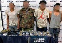 Tras persecución, caen cuatro hombres con armas de fuego y drogas