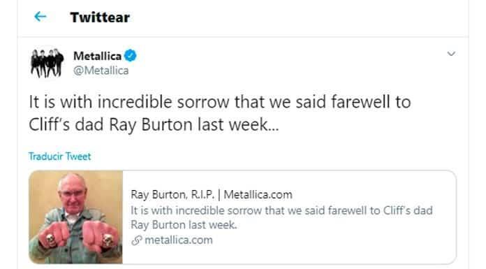 Fallece Ray Burton, padre de exbajista de Metallica'>