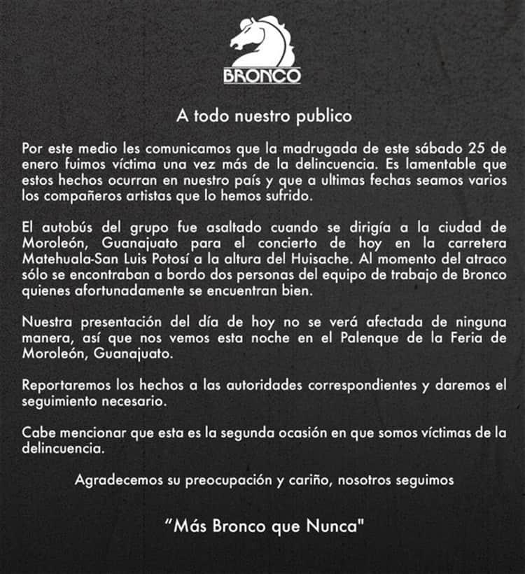 Asaltan autobús del grupo Bronco que iba a Guanajuato; no suspenden presentación