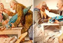 Rusos decoran su cuarentena reproduciendo obras de arte (FOTOS)