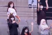 En Corea del Sur llevan a muñecas inflables a los estadios