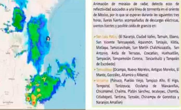 Pronostican  lluvias fuertes, descargas eléctricas, granizadas y rachas fuertes de viento en algunas zonas de SLP