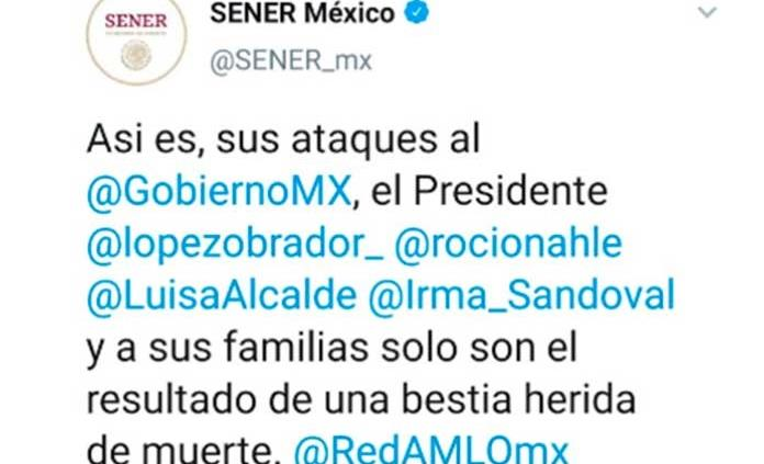 Ataques son de bestia herida de muerte, tuitea Sener; Nahle ofrece disculpa