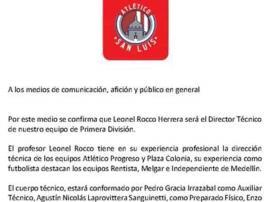 Leonel Rocco, nuevo DT del Atlético de San Luis