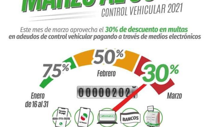 Durante marzo, descuento de 30% en multas de control vehicular