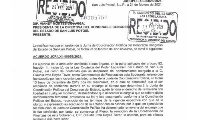 Jucopo destituye a coordinadora financiera del Congreso